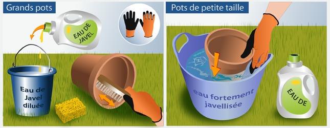 Désinfectez les pots en terre  cuite