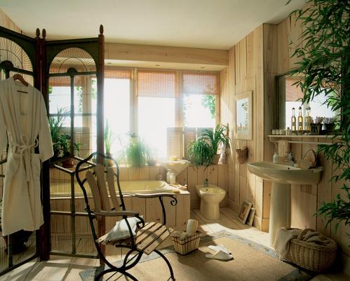 Photo guide de la salle de bain salle de bain en bois - Echelle salle de bain en bois ...