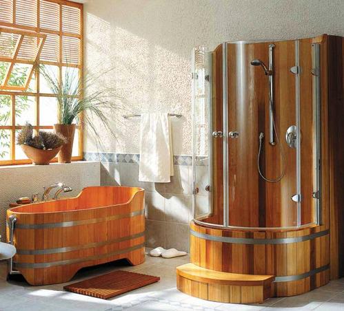 Salle de bain accessoires et meubles de salle de bain for Salle de bain en bois avec douche italienne