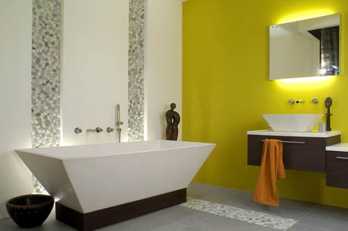 Photo guide de la salle de bain design for Bathroom ideas yellow tile
