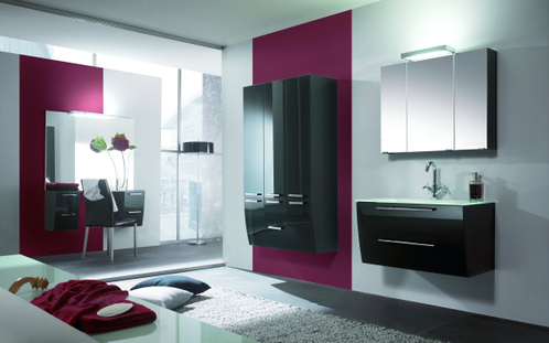 Salle de bain accessoires et meubles de salle de bain carrelage - Mur couleur framboise ...