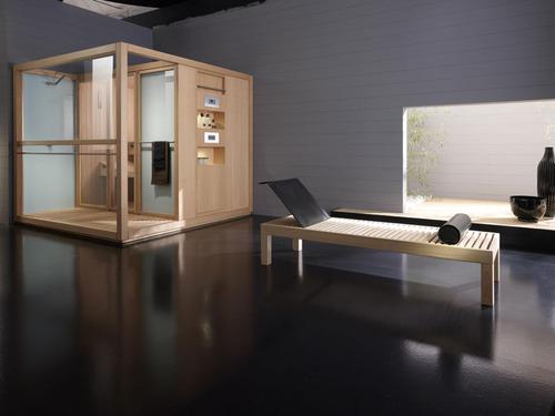 Photo decoration salle de bain sauna finition hemlock canadien ext rieur et int rieur aussi - Sauna exterieur jardin moderne ...