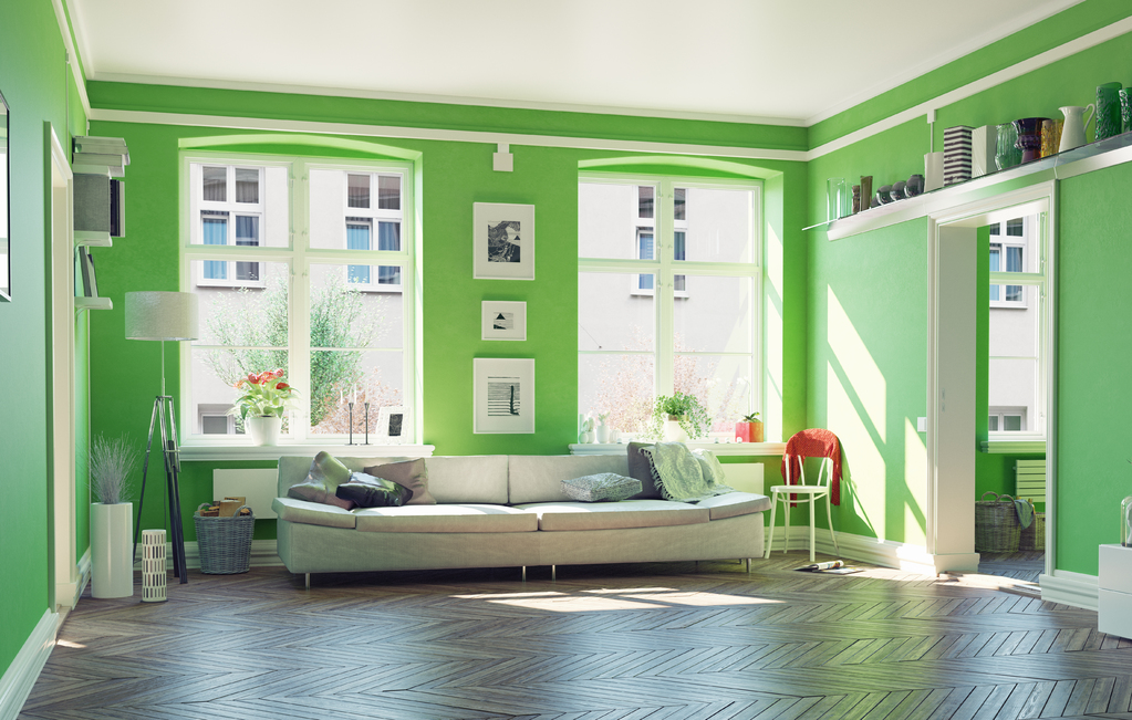 peinture vert pomme d co associations de couleurs ooreka. Black Bedroom Furniture Sets. Home Design Ideas