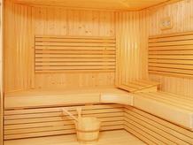 Sauna en bois lambris classique avec poêle traditionnel