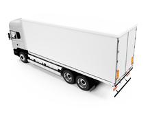 Gros camion blanc sur fonc blanc