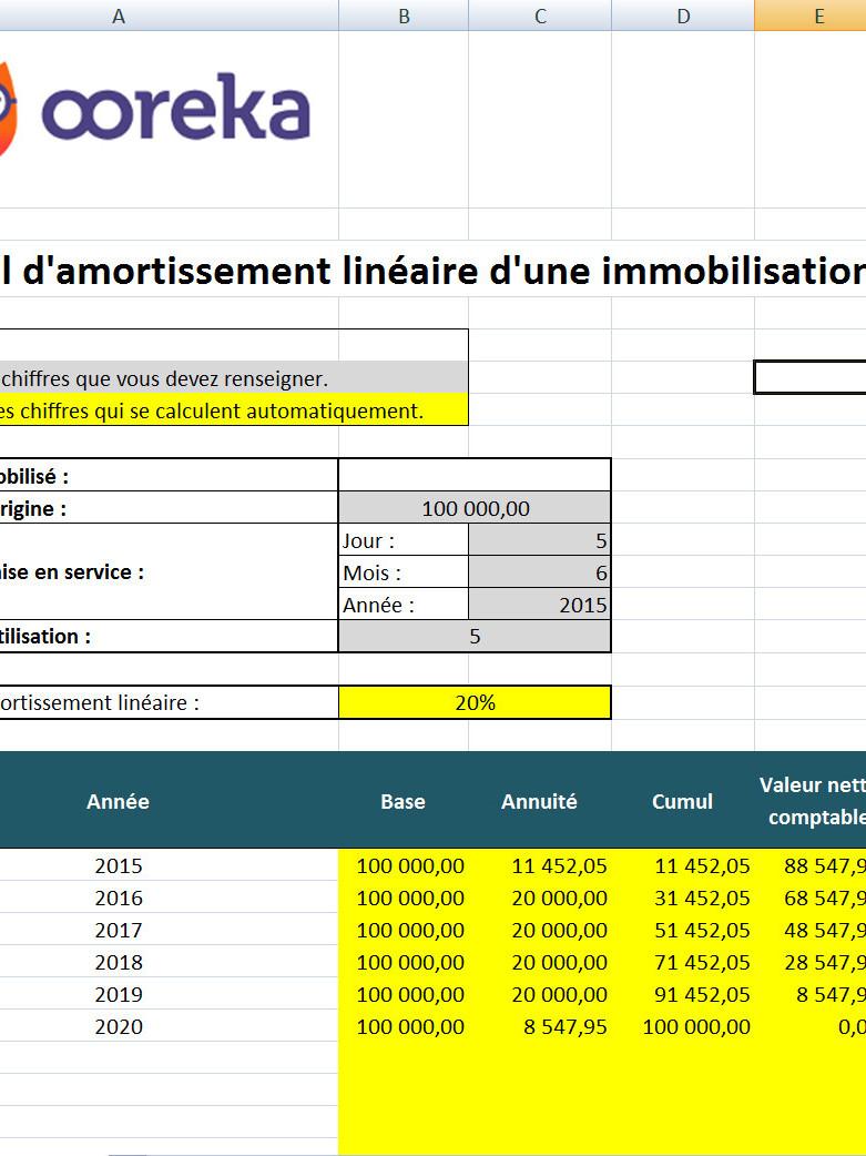 Feuille De Calcul Amortissement Lineaire Des Immobilisations