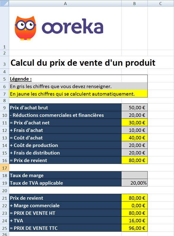 Feuille De Calcul  Prix De Vente Excel