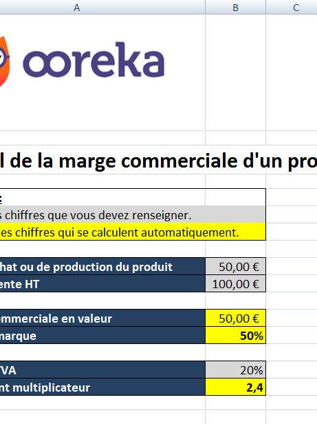 Feuille De Calcul Marge Commerciale D Un Produit