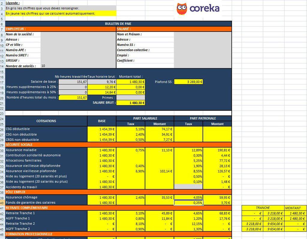 Assez Feuille de calcul : Bulletin de paie (non cadre) (excel) DT99