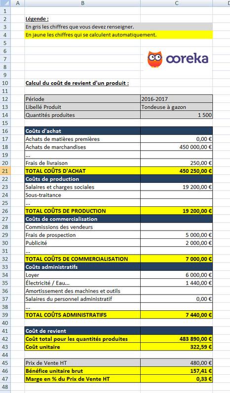 Feuille De Calcul  Calcul Du Cot De Revient DUn Produit Excel
