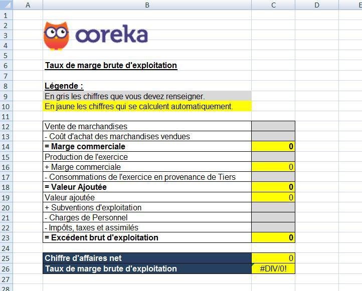 Feuille De Calcul Taux De Marge Brute D Exploitation Excel