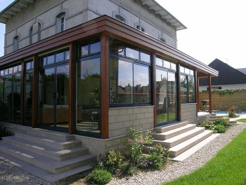 Veranda bois et alu construire veranda prix v randa - Moderne entree veranda ...